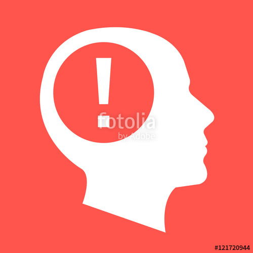 500x500 White Human Head, Face Profile Silhouette With Exclamation Point
