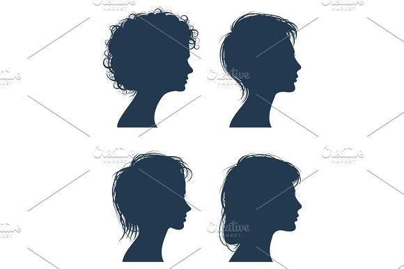 580x386 Woman Head Vector Silhouettes, Female Face Profiles, Girl Modern