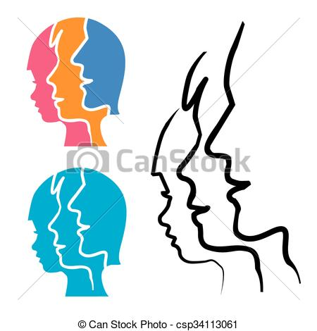 450x470 Family Stlized Head Silhouettes. Two Stylized Human Heads Clip