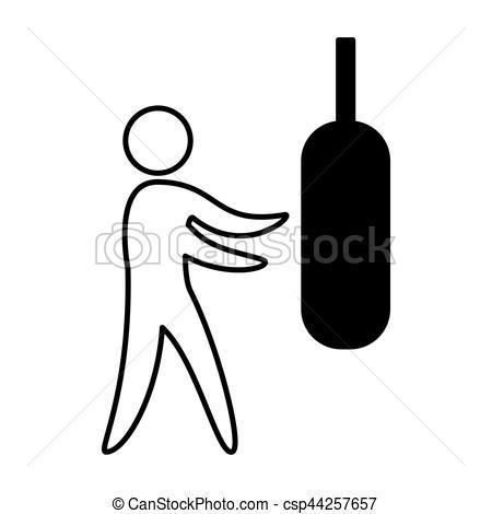 450x470 Boxing Figure Human Silhouette Vector Illustration Design Clipart