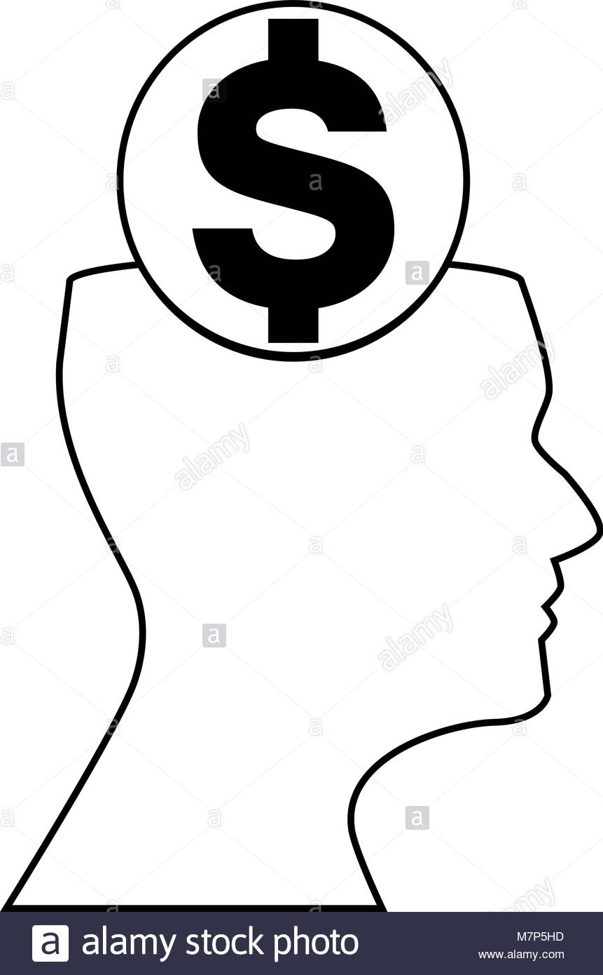 861x1390 Outline Silhouette Of Of Dollar Sign Inside Of Human Head Isolated