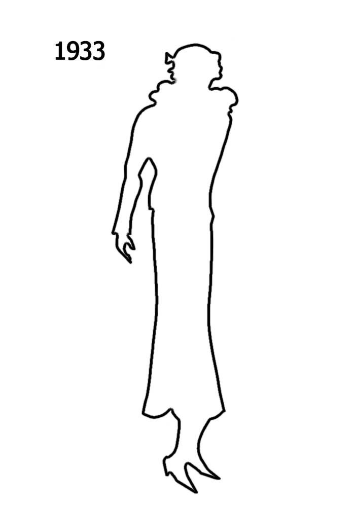 700x1000 1930 To 1940 White Outline Silhouettes In Costume History