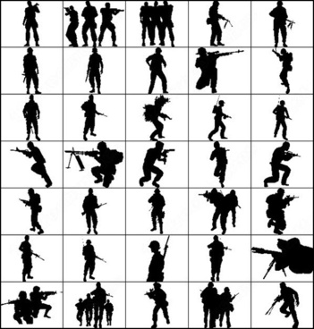 351x368 Free American Soldier Silhouette Man Photoshop Brushes Download