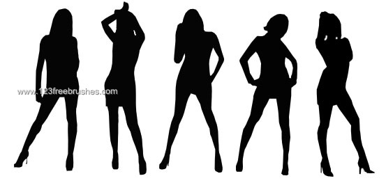 553x263 Girl Silhouette Brushes For Photoshop Elements 123freebrushes