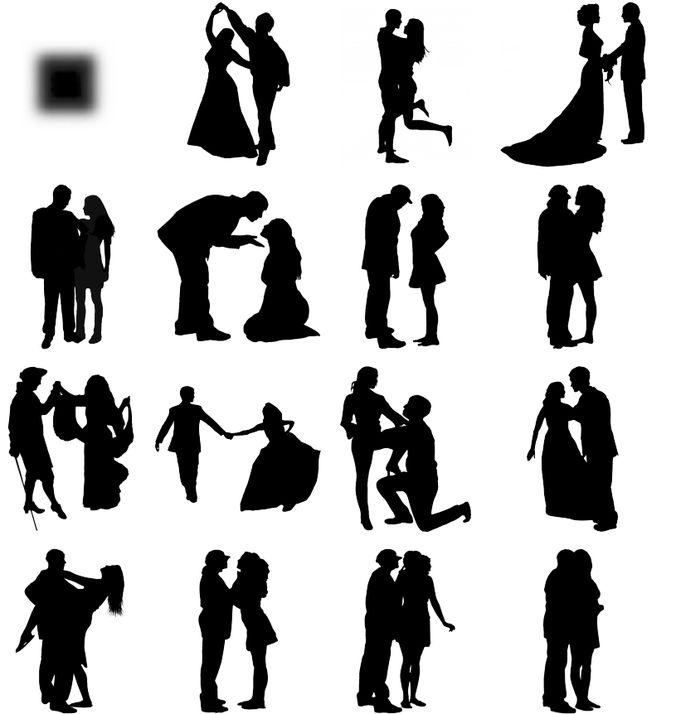 676x714 Romantic Silhouette Brushes