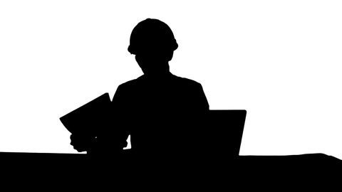 480x270 Silhouette Smiling Female Engineer Talking To The Camera Sitting