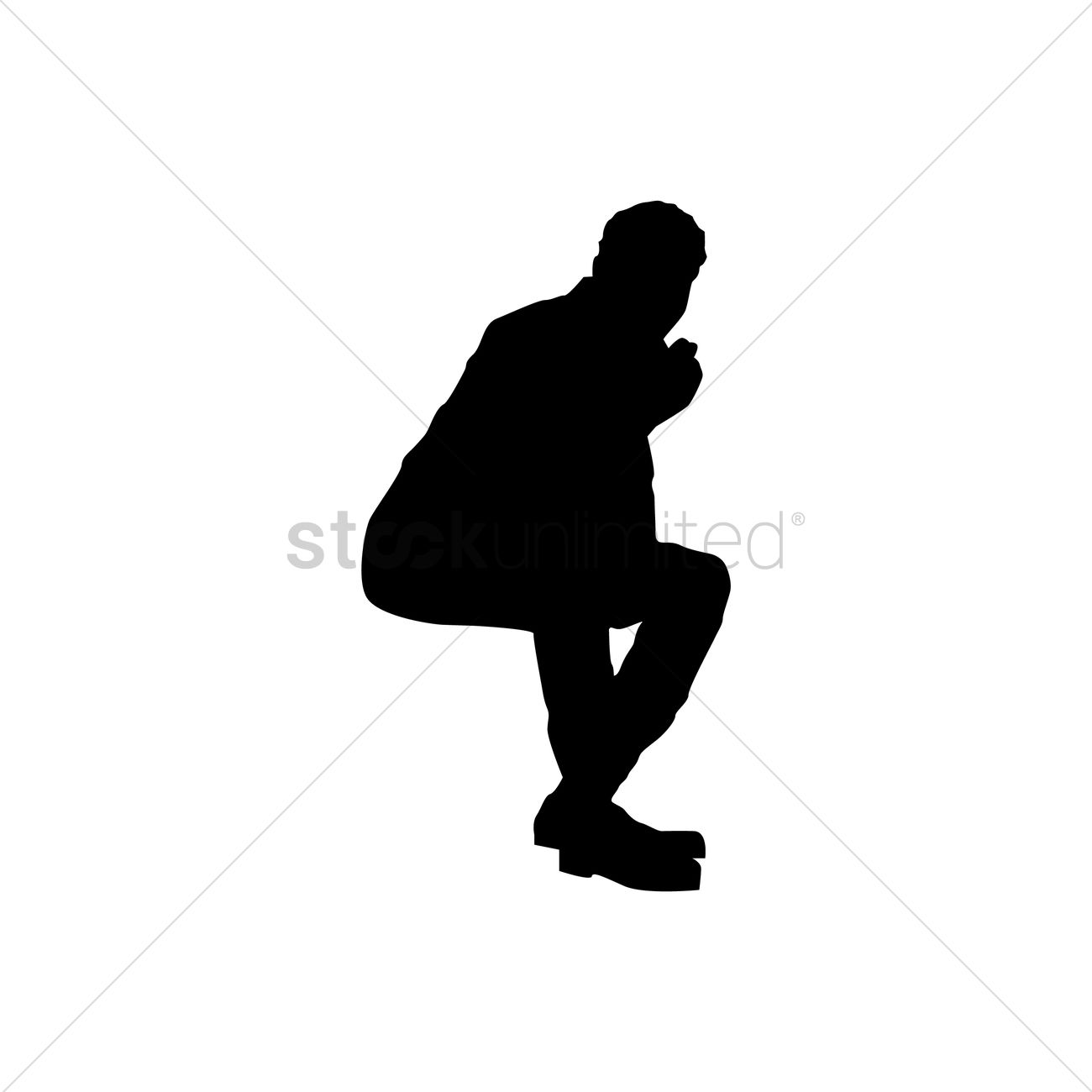 1300x1300 Silhouette Of Man Sitting Vector Image