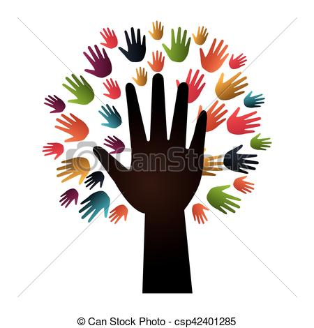 450x470 Hand Human Silhouette Colors Community Icon Vector Vector