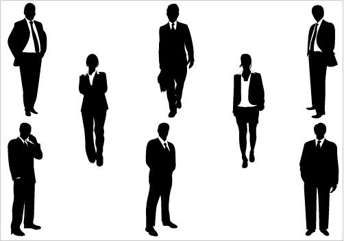 502x351 Business Silhouettes Vector Download Business Men Amp Women People