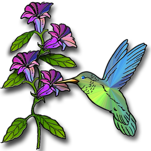 512x512 Hummingbird With Flowers Clipart