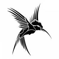 200x200 Full Black Flying Hummingbird Tattoo Design