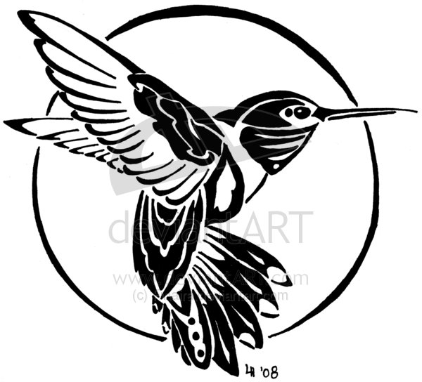 600x544 Humming Bird Tattoos Tribal Hummingbird Tattoo