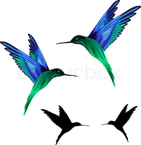 465x480 Hummingbird Tattoo Design Set