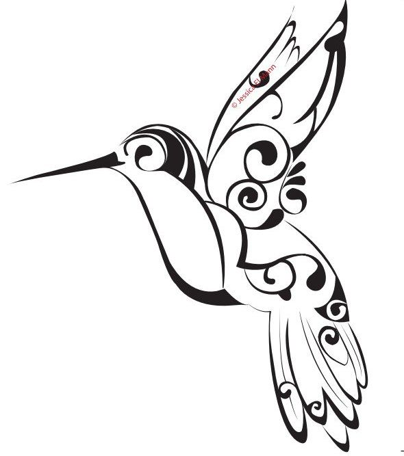 590x667 Colorful Tribal Hummingbird Tattoo Design Photo