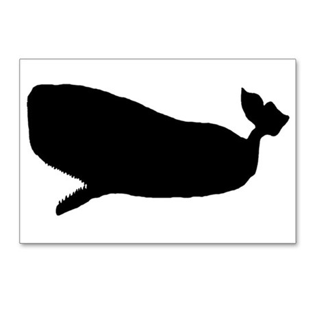 460x460 Humpback Whale Silhouette Art Postcards