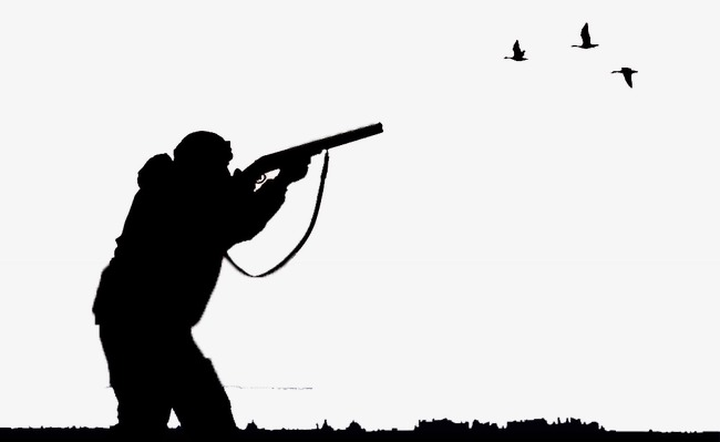 650x399 Bird Hunter Aiming Shooting, Black, Bird, Silhouette Figures Png