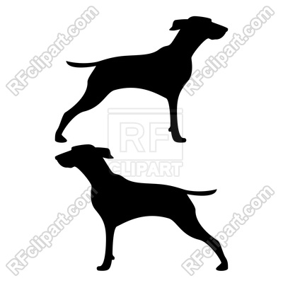 400x400 Hunter Dog Silhouettes Royalty Free Vector Clip Art Image