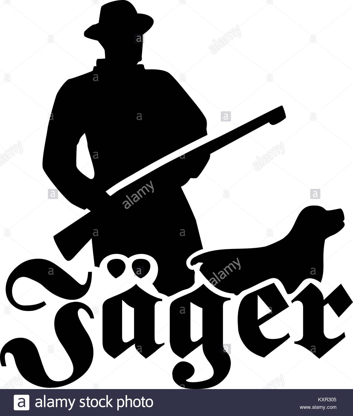 1180x1390 Hunter Silhouette With Hunting Rifle And Dog Stock Vector Art