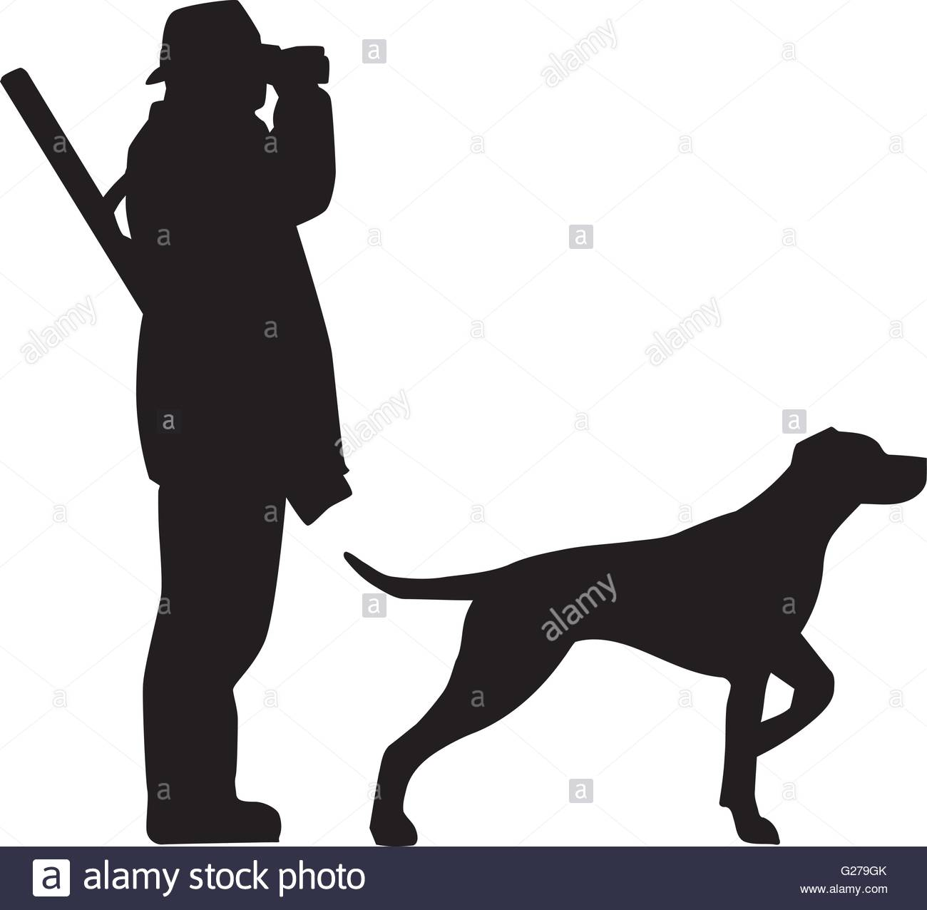 1300x1276 Hunter With Field Glasses And Dog Stock Vector Art Amp Illustration