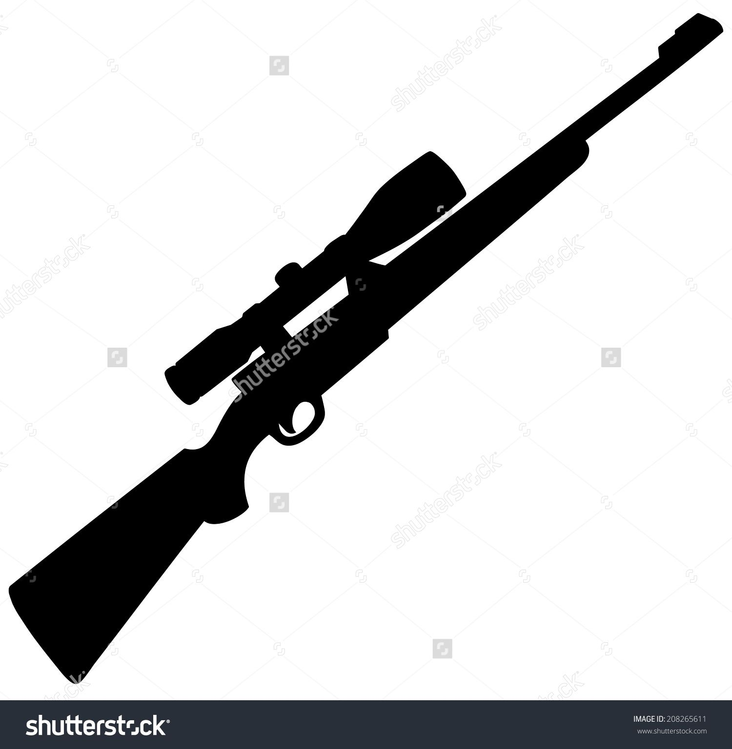1500x1536 Hunting Rifle Silhouette Stock Vector Illustration 208265611