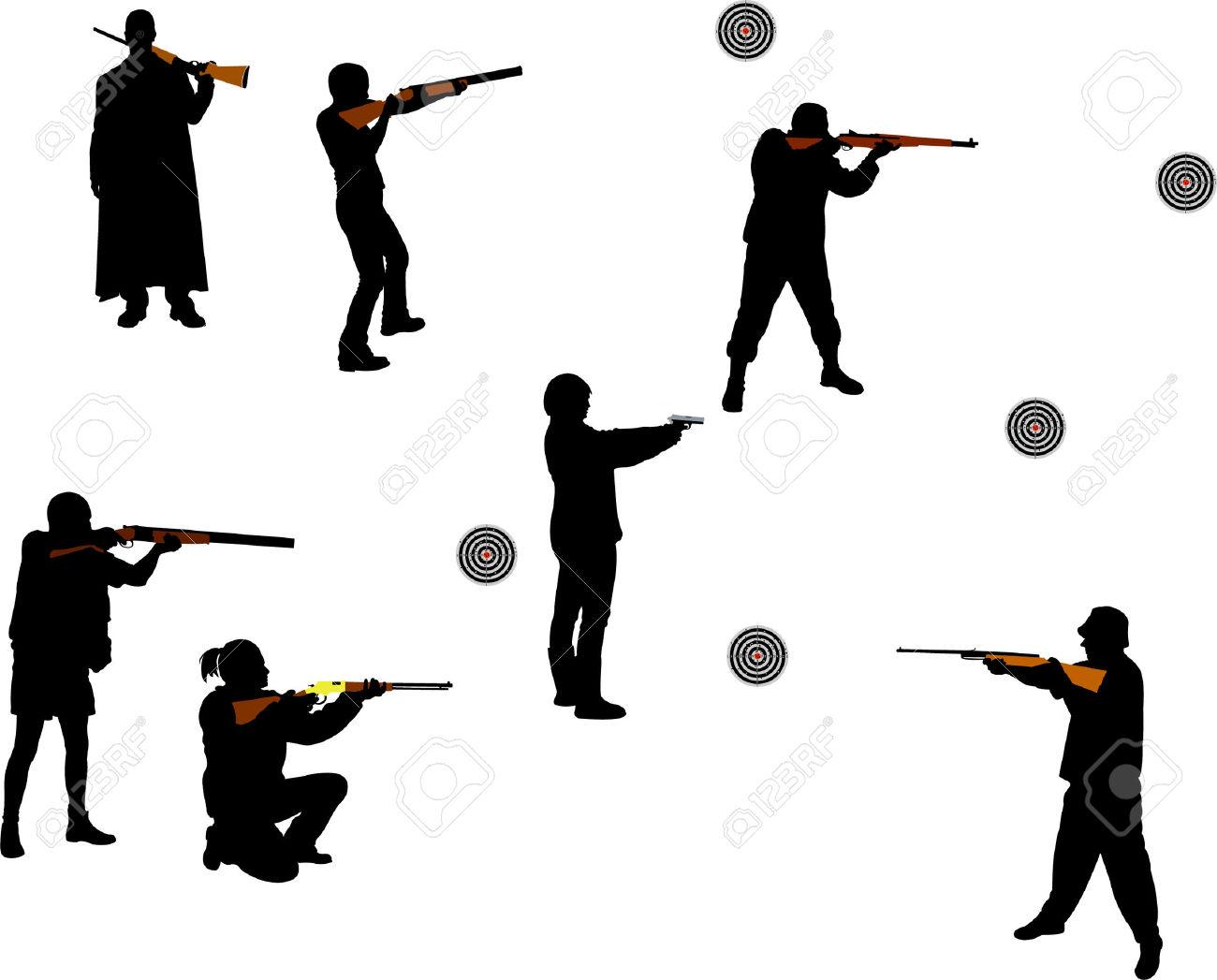 1300x1047 Shooting Shotgun Silhouette Vector People Clipart