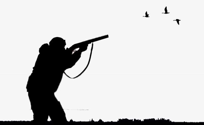 650x399 Bird Hunter Aiming Shooting, Black, Bird, Silhouette Figures Png