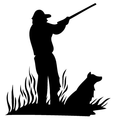 466x480 Hunter And Dog Silhouette Decal Sticker