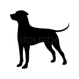 320x320 Vector Silhouette Hunt Dogs On White Background Stock Vector