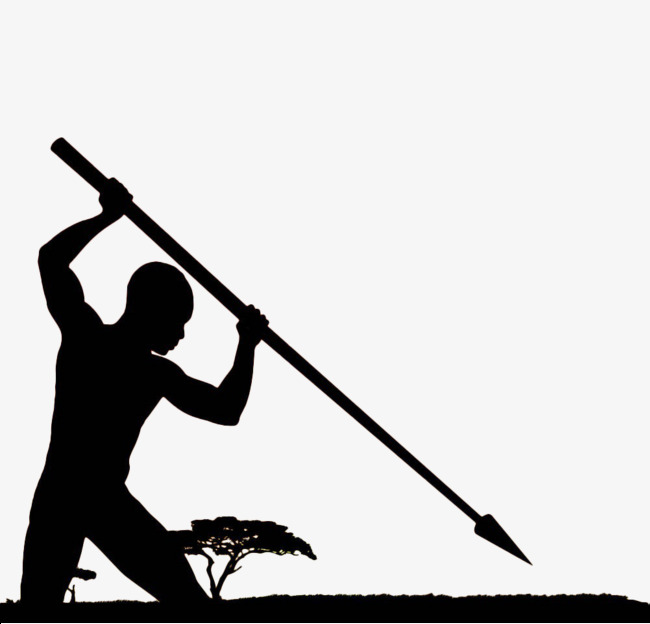 650x624 Hand Painted Black Hunting Silhouette, Spear, Spearhead, Cold
