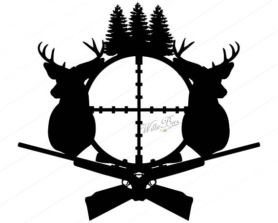 570x456 Deer Hunting Svg Silhouette Clipart Gone Hunting Deer