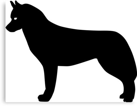 550x426 Siberian Husky Dog Silhouette Canvas Prints By Idrawsilhouettes