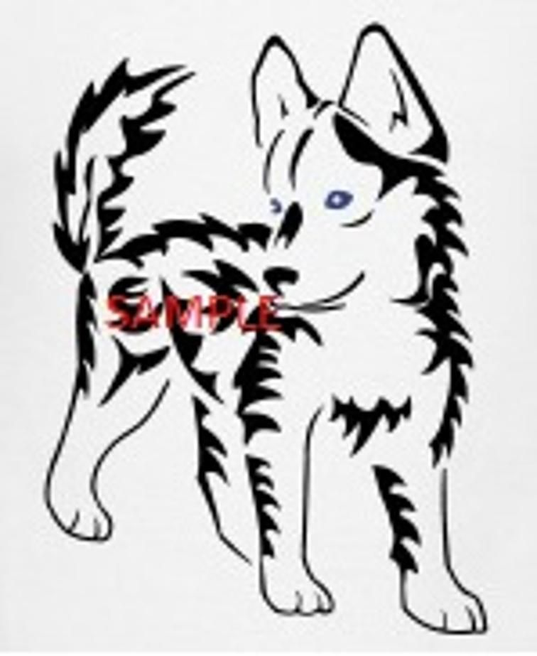 756x923 Tribal Husky Pup Cross Stitch Chart Husky Pups, Cross Stitch