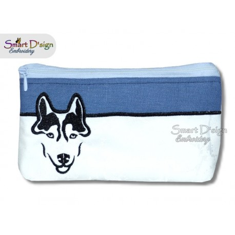 458x458 Ith Husky Silhouette Cosmetic Bag 3 Sizes Fully Lined Machine