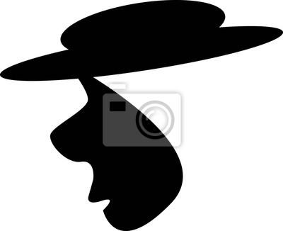 400x326 Mann Mit Hut Vektor Schwarz Silhouette Illustration Fototapete