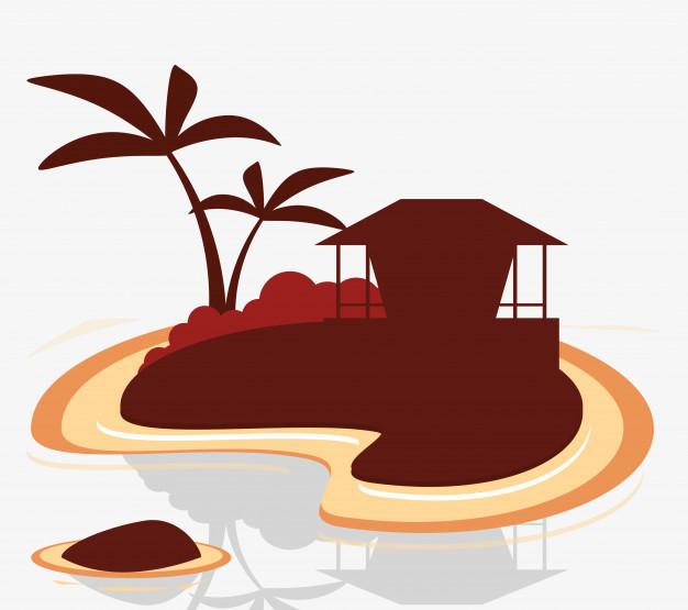 626x555 Silhouette Island Tropical Hut Exotic Vector Premium Download