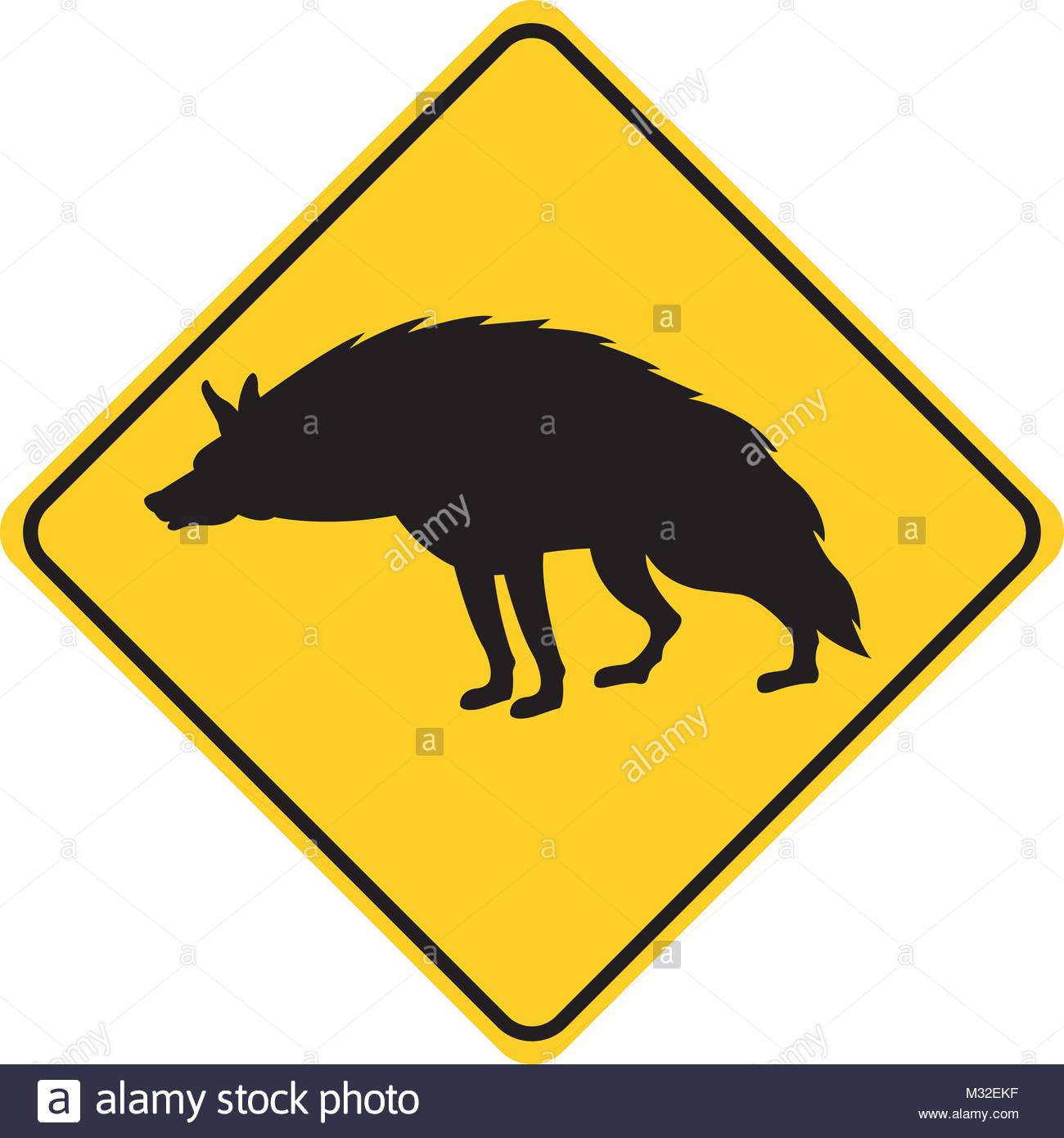1300x1390 Hyena Silhouette Animal Traffic Sign Yellow Vector Illustration