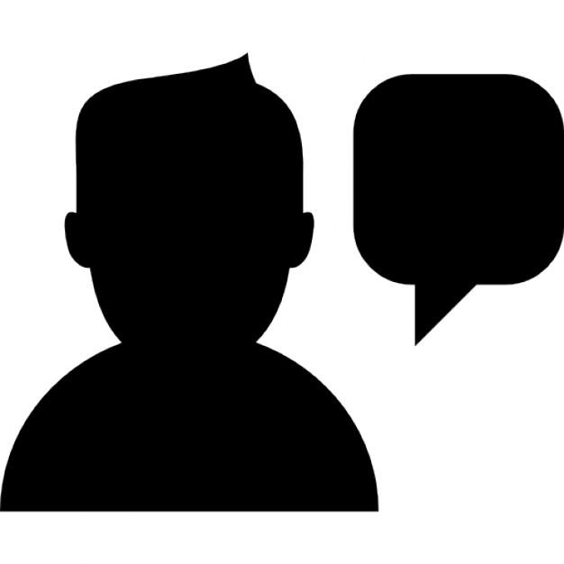 626x626 Man Talking Silhouette With Speech Bubble Icons Free Download