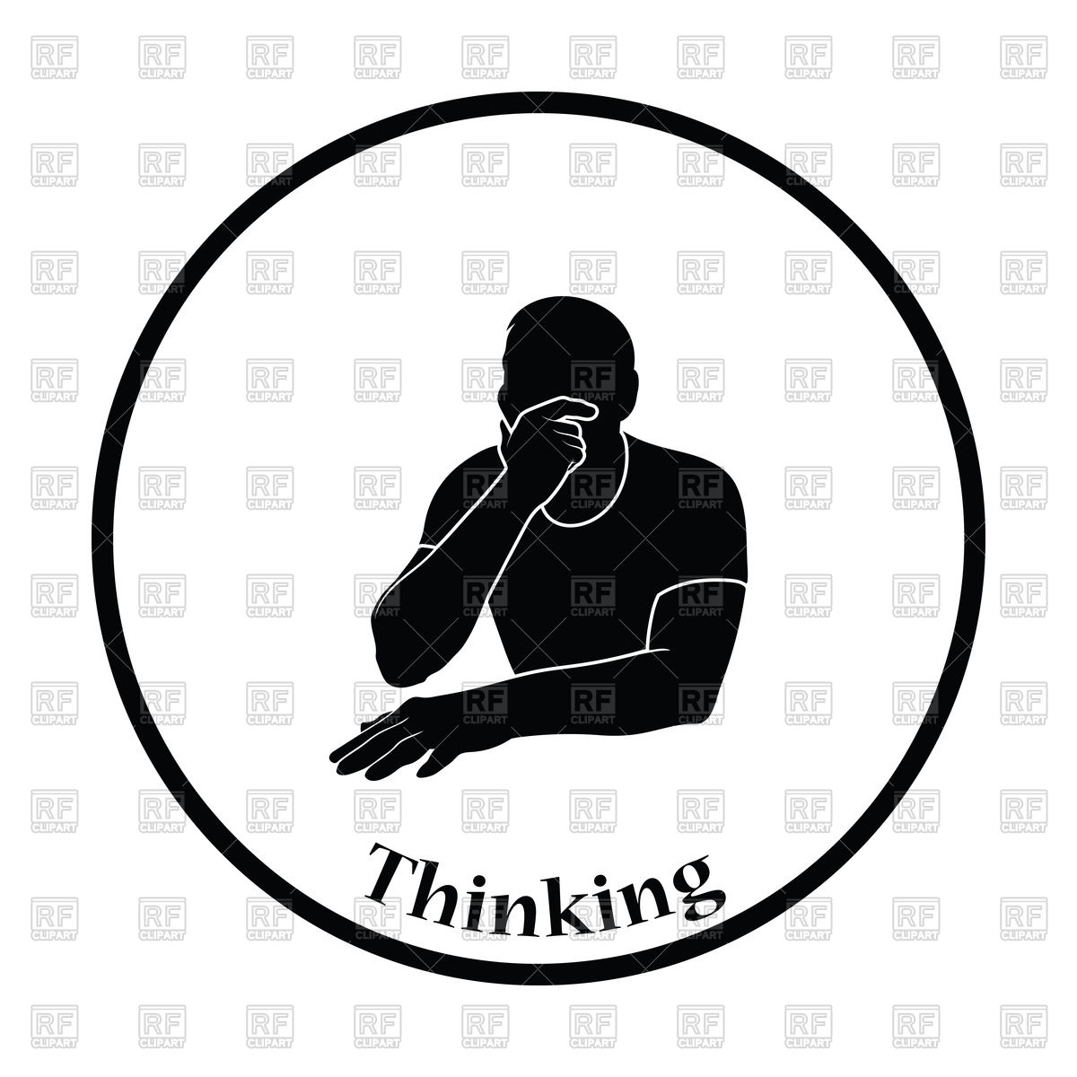 1200x1200 Thinking Man Silhouette On White Background Royalty Free Vector