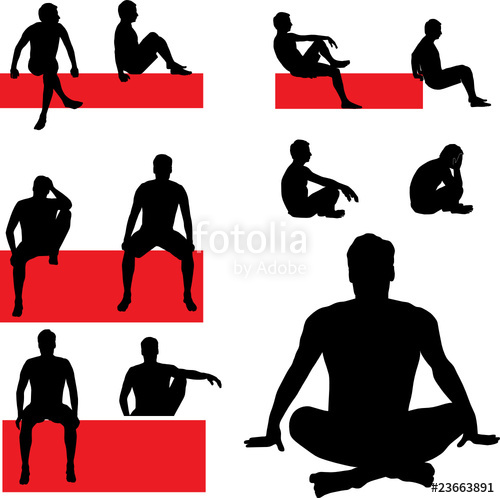 500x498 Man Sitting Vector Silhouettes Stock Image And Royalty Free