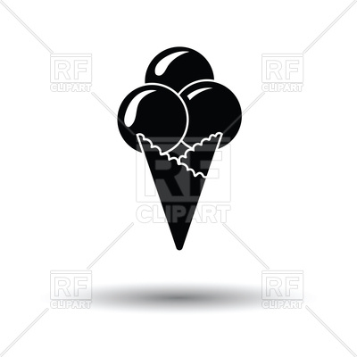 400x400 Silhouette Of Ice Cream Cone Icon On White Background Royalty Free