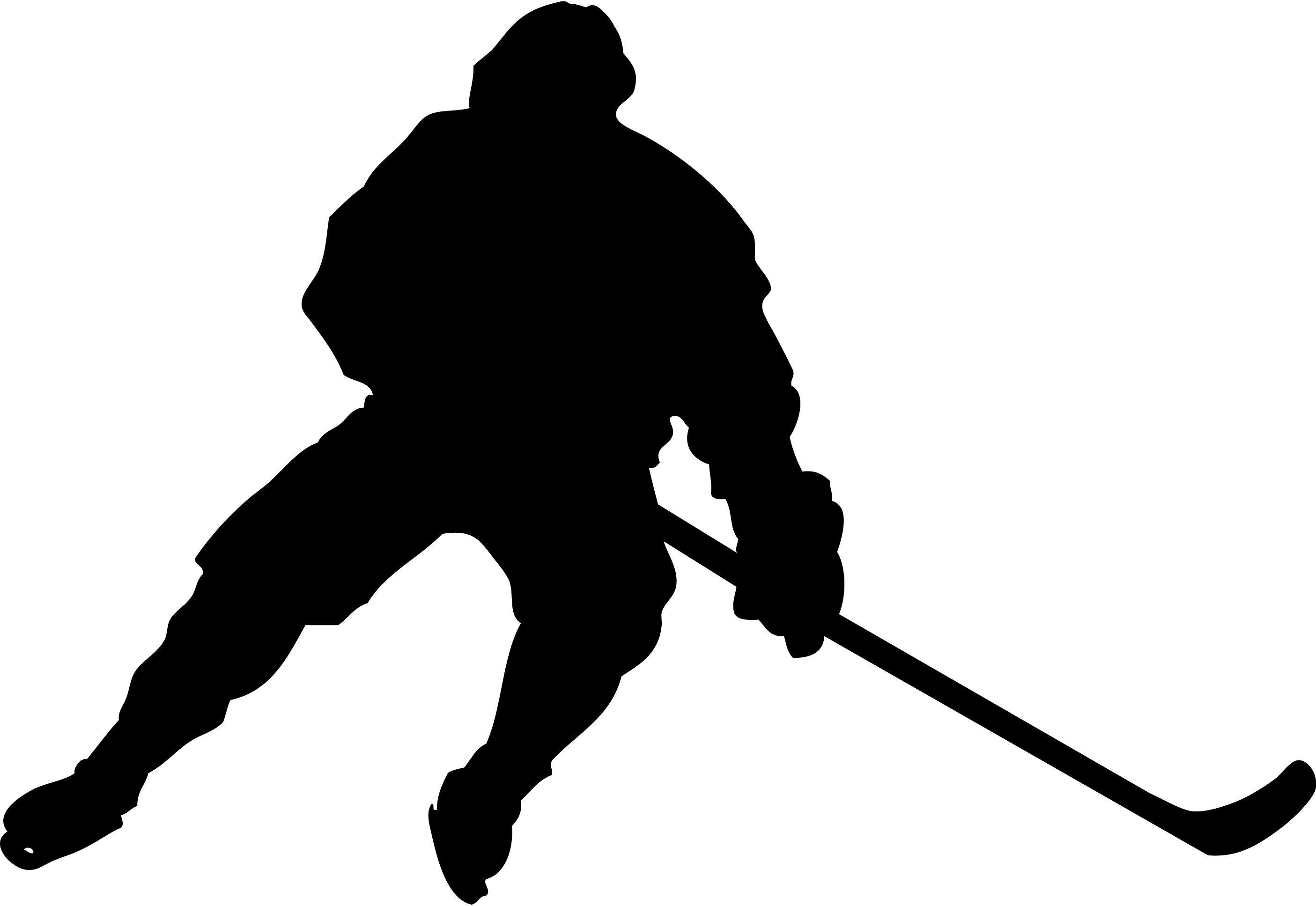 2810x1935 Silhouette Of A Hockey Goalie Making A Glove Save. Description