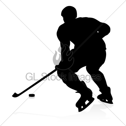 500x500 Ice Hockey Player Silhouette Gl Stock Images
