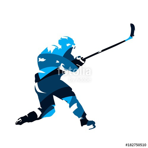 500x500 Ice Hockey Player Shooting Puck, Abstract Blue Vector Silhouette