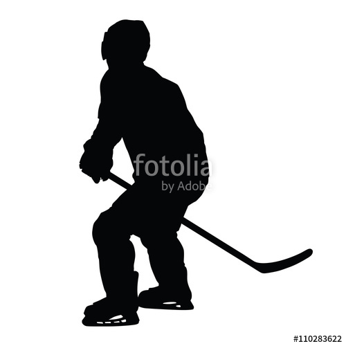 500x500 Ice Hockey Player Vector Silhouette. Hockey Player Skating Witho