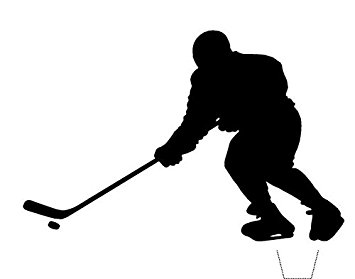 355x279 Novelty Ice Hockey Player Silhouette 12 Edible Stand Up Wafer