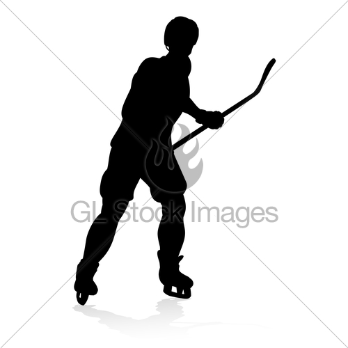 500x500 Silhouette Ice Hockey Player Gl Stock Images