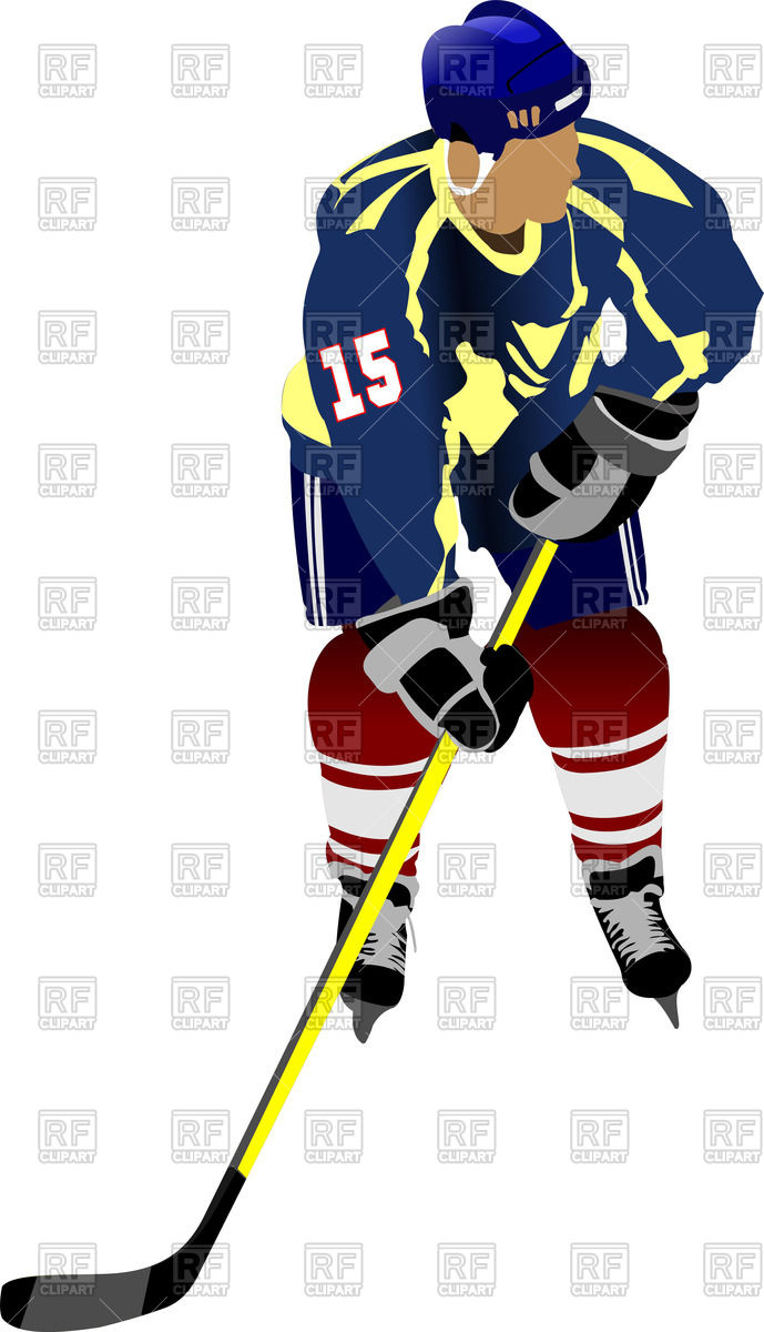 689x1200 Silhouette Of Ice Hockey Player In Action Royalty Free Vector Clip
