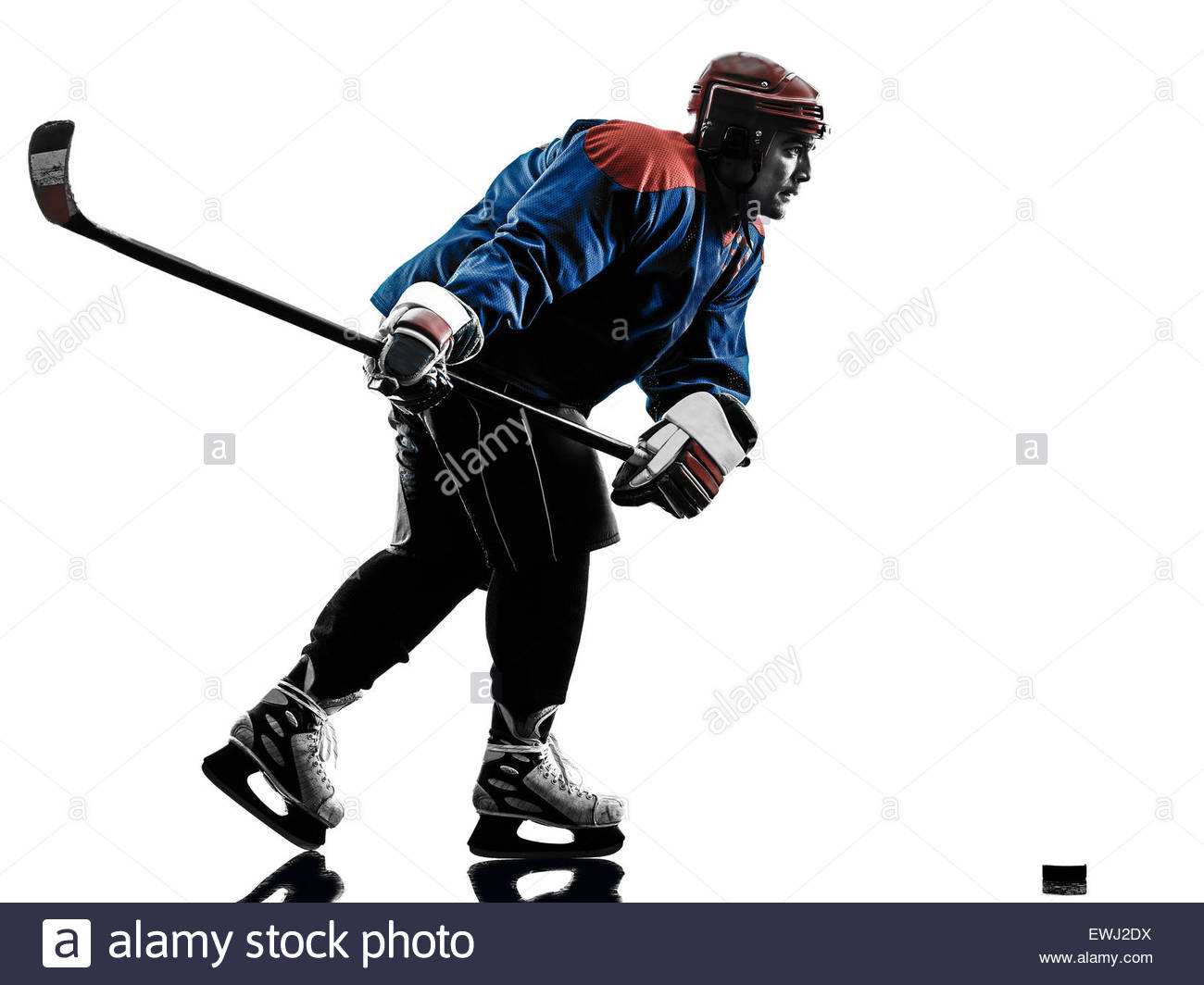 1300x1064 One Caucasian Man Ice Hockey Player In Studio Silhouette Isolated