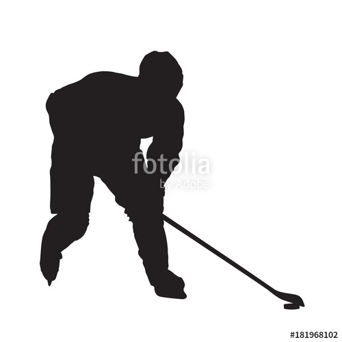 500x500 Ice Hockey Player Skating With Puck, Isolated Vector Silhouette