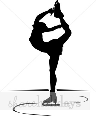 321x388 Ice Skater Spinning In Silhouette Winter Clipart